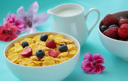 Breakfast. Corn flakes, milk and fresh fruits as blueberries and strawberries on blue background. Close up view. Cornflakes with fresh fruits and milk. Healthy Royalty Free Stock Photos