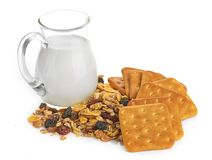 Breakfast with corn-flakes Royalty Free Stock Photos