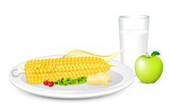 Breakfast with Corn and Milk Stock Photography