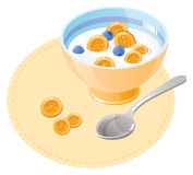 Breakfast with cornflakes Stock Images