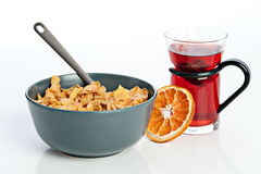 Breakfast with cornflakes Royalty Free Stock Image