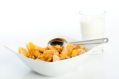 Breakfast with cornflakes Stock Photo