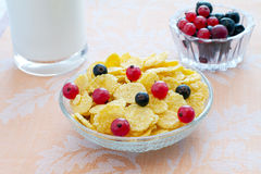 Breakfast cornflakes. Cornflakes with milk, red and black currant Royalty Free Stock Photo
