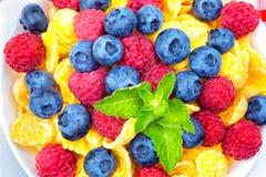 Breakfast of cornflakes and berries, raspberries, blueberries, royalty free stock photo