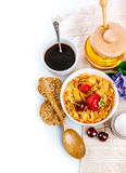 Breakfast with cornflakes and berries Royalty Free Stock Image