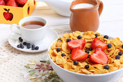 Breakfast - cornflakes with  strawberries and blueberries Stock Photo