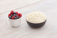 Breakfast with cottage cheese and berries Stock Photo