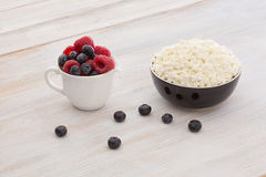 Breakfast with cottage cheese and berries Royalty Free Stock Image
