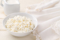 Breakfast of cottage cheese and diary cream(closeup) Royalty Free Stock Image
