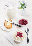 Breakfast with cottage cheese and milk Royalty Free Stock Images