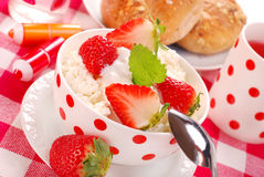Breakfast with cottage cheese and strawberries Royalty Free Stock Photo