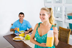 Breakfast couple Royalty Free Stock Image