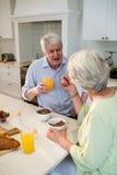 breakfast couple having senior together 库存图片