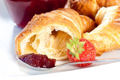 Breakfast with croissant Stock Photo