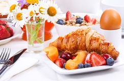 Breakfast with croissant Royalty Free Stock Image