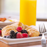 Breakfast with croissant and berries Royalty Free Stock Photos