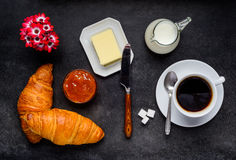 Breakfast Croissant with Coffee Royalty Free Stock Photography