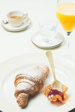 Breakfast with croissant,coffee and juice Royalty Free Stock Photos