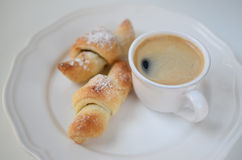 Breakfast Croissant with Coffee Royalty Free Stock Photos
