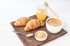 Breakfast with croissant and cup of coffee Stock Image