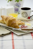 Breakfast croissant and cup Royalty Free Stock Photography