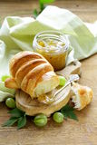 Breakfast croissant with fresh jam gooseberry Stock Photos