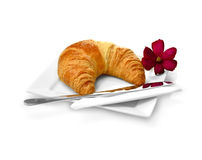 Breakfast Croissant 2. Fresh breakfast croissant ready to eat against a white background with copy space. Perfect for a hotel brochure or mother's day design Stock Images