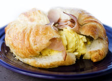 Breakfast croissant sandwich Royalty Free Stock Photos