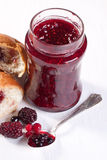 Breakfast with croissant and strawberry jam Royalty Free Stock Image