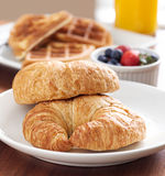 Breakfast with croissants Stock Images