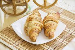 Breakfast Croissants with almonds Royalty Free Stock Photos
