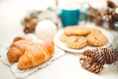 Breakfast with croissants, biscuits, cookies and coffee Stock Photos