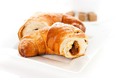 Breakfast with croissants Stock Photography