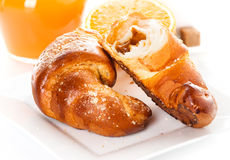 Breakfast with croissants Royalty Free Stock Photography