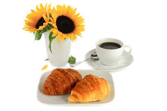 Breakfast - Croissants and Coffee. Stock Photos