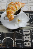 Breakfast with Croissants and Coffee Stock Photography
