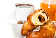 Breakfast with croissants,coffee and juice Stock Photo