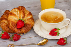 Breakfast with croissants and coffee Stock Images
