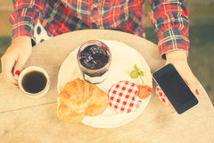 Breakfast with croissants and coffee Royalty Free Stock Images