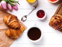 Breakfast with croissants and coffee Stock Image