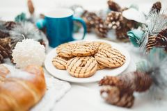 Breakfast with croissants, cookies, milk or coffee and butter Royalty Free Stock Photography