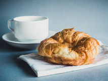 Breakfast with croissants, cup of black coffee Royalty Free Stock Photography