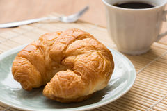 Breakfast with croissants, cup of black coffee Stock Photo