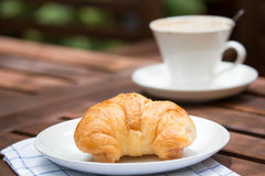 Breakfast with croissants, cup of coffee Royalty Free Stock Photos