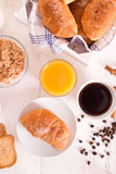 Breakfast with croissants. Royalty Free Stock Photography