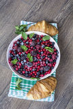 Breakfast with croissants and  forest fruits Royalty Free Stock Photo