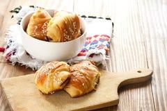 breakfast with croissants stock photos