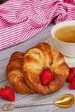 Breakfast with croissants Royalty Free Stock Photo