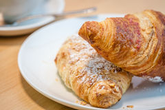 Breakfast croissants Stock Images