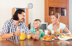 Breakfast with croissants Royalty Free Stock Photos
